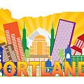 Portland Oregon Skyline In State Map by Jit Lim