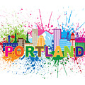 Portland Oregon Skyline Paint Splatter Text Illustration by Jit Lim