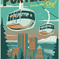 Portland Poster - Tram Retro Travel by Jim Zahniser