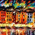 Portofino - Liguria Italy by Leonid Afremov