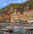 Portofino-la Piazzetta E Le Barche by Guido Borelli