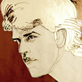 Tinted Graphite Portrait Drawing Of A Blond Man by Greta Corens