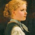 Portrait Of A Girl by Albert Anker