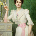 Portrait Of A Lady Holding A Fan by Jules-Charles Aviat
