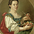 Portrait Of A Lady With A Flower Basket by Giacomo Ceruti