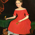 Portrait Of A Winsome Young Girl In Red With Green Slippers Dog And Bird by Ammi Phillips