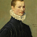 Portrait Of A Young Gentleman Head And Shoulders At The Age Of 23 by Attributed to Federico Zuccari