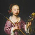 Portrait Of A Young Girl As A Shepherdess Holding A Sprig Of Flowers by Aelbert Cuyp