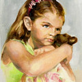 Portrait Of A Young Girl With Toy Bear by Liz Viztes