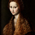 Portrait Of A Young Woman Wearing A Robe With A Fur Collar by Francesco Bachiacca