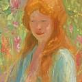 Portrait Of A Young Women In Garden 1912 by Reid Robert Lewis