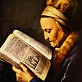 Portrait Of An Old Woman Reading by Dou Gerrit
