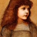 Portrait Of Gertie Lewis by Edward Burne-Jones