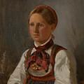 Portrait Of Gunild Olsdatter From Tinn by Adolph Tidemand