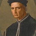 Portrait Of Piero Soderini Half Length Wearing A Black Coat And A Black Hat by Ridolfo Ghirlandaio