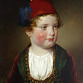 Portrait Of Prince Victor Odescalchi  In Greek Costume At The Age Of Five by Friedrich von Amerling