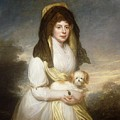 Portrait Of Queen Charlotte Three-quarter Length In A White Dress A Yellow Shawl And Black Mantilla Holding A Maltese Dog Sir Henry William Beechey by Eloisa Mannion
