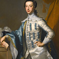 Portrait Of Sir James Lowther 1st Earl Of Lonsdale Three Quarter Length Holding A Mask In His Right  by Thomas Hudson
