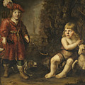 Portraits Of Two Boys In A Landscape One Dressed As A Hunter The Other St As John The Baptist by Douwe Juwes de Dowe