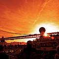 Sunset Under The 25 April Bridge Lisbon by Wilf Doyle