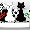 Posh Cats Christmas - Black And White by Barefoot Bodeez Art