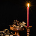 Post Card With Traditional Copper Dishes And Red Candle by Gergana Chakalova