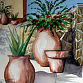 Pots And Bougainvillea by Kandyce Waltensperger