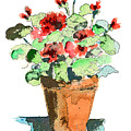 Potted Geraniums by Arline Wagner