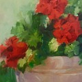 Potted Red Geraniums by Carol Hopper
