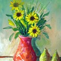 Pottery Vase And Flowers by Carl Lucia