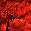 Power Line - Asphalt - Water Puddle Abstract Reflection 02 by Jor Cop Images