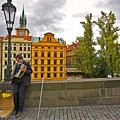 Prague Accordian Player On Charles Bridge by Madeline Ellis