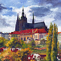 Prague Castle With The Vltava River by Yuriy  Shevchuk