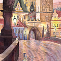 Prague Charles Bridge Night Light 1 by Yuriy  Shevchuk