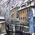 Prague Chertovka Winter by Yuriy Shevchuk