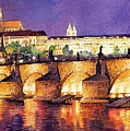 Prague Night Panorama Charles Bridge  by Yuriy  Shevchuk