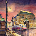 Prague  Night Tram National Theatre by Yuriy Shevchuk