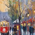 Prague Old Tram Vaclavske Square by Yuriy Shevchuk