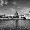 Prague On The Water Black And White by Sharon Popek