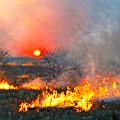 Prairie Burn Sunset In Kansas by Catherine Sherman