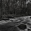 Prairie River Whitewater Black And White by Dale Kauzlaric