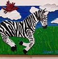 Prancing Zebra And Bird by Sarah Swift
