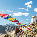 Prayer Flag In Tsemo Castle In Leh, Ladakh, India by Didier Marti