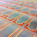 Prayer Mats Printed On Mosque Carpet by Jill Tindall