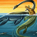 Prehistoric Creatures In The Ocean by English School