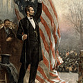 President Abraham Lincoln - American Flag by International  Images