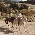 President And Nancy Reagan Horseback by Everett