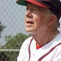 President Jimmy Carter - Atlanta Braves Jersey And Cap by Jerry Battle