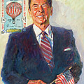President Reagan Balloon Stamp by David Lloyd Glover