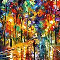 Pretty Night - Palette Knife Oil Painting On Canvas By Leonid Afremov by Leonid Afremov
